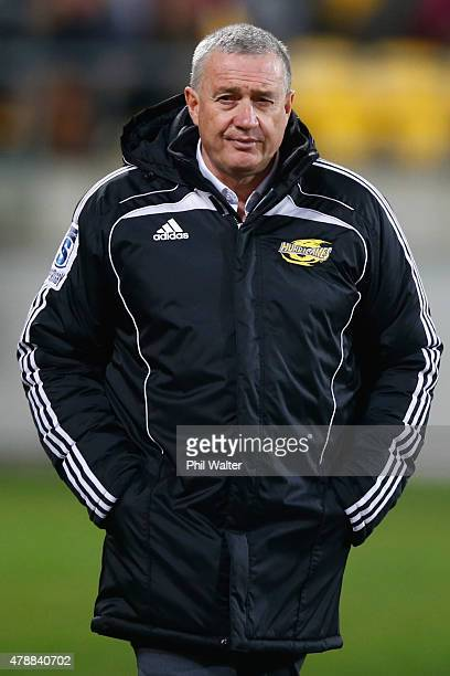 Hurricanes coach Chris Boyd before the Super Rugby Semi Final match between the Hurricanes and the Brumbies at Westpac Stadium on June 27 2015 in...