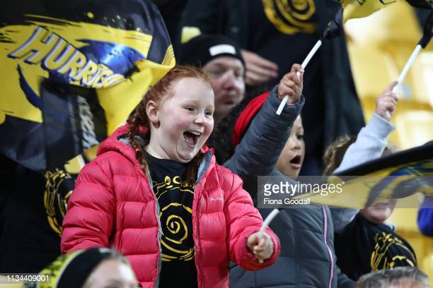 Hurricanes fans during the round 4 Super Rugby match between the Wellington Hurricanes and Otago Highlanders at Westpac Stadium on March 08, 2019 in...