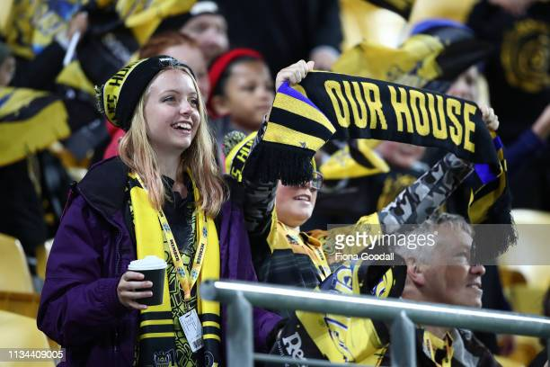 Hurricanes fans during the round 4 Super Rugby match between the Wellington Hurricanes and Otago Highlanders at Westpac Stadium on March 08 2019 in...