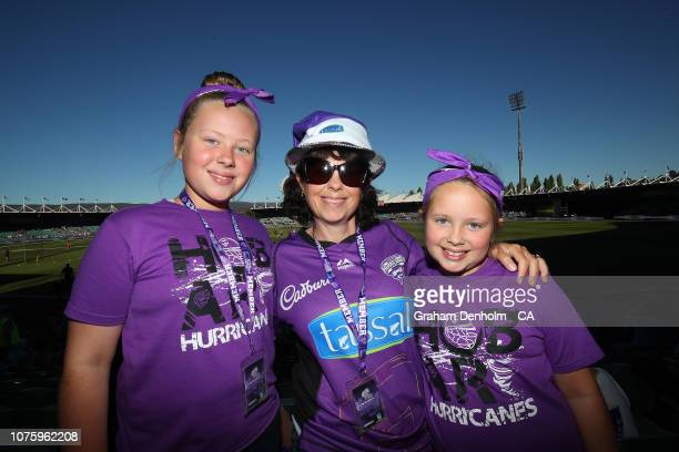 Hurricanes fans show their support during the Big Bash League match between the Hobart Hurricanes and the Perth Scorchers at UTAS Stadium on December...