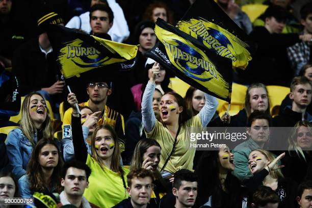 Hurricanes fans show their support during the round four Super Rugby match between the Hurricanes and the Crusaders at Westpac Stadium on March 10...