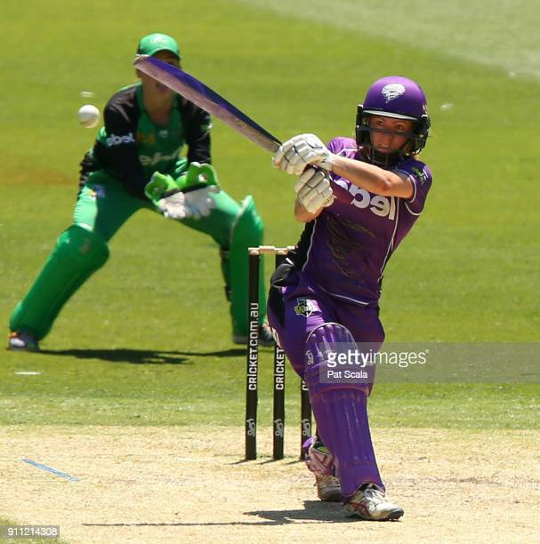 Hurricanes Georgia Redmayne bats during the Women's Big Bash League during the Hobart Hurricanes and the Melbourne Stars at Melbourne Cricket Ground...