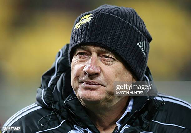 Hurricanes head coach Chris Boyd looks on prior to the Super Rugby semifinals match between the Wellington Hurricanes and Waikato Chiefs at Westpac...