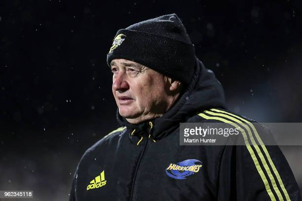 Hurricanes head coach Chris Boyd prior to the round 15 Super Rugby match between the Crusaders and the Hurricanes at AMI Stadium on May 25 2018 in...