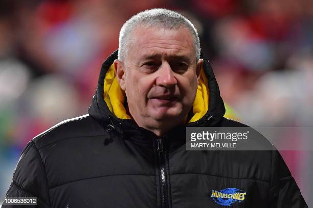 Hurricanes' head coach Chris Boyd walks from the field before the Super Rugby semifinal match between New Zealand's Canterbury Crusaders and...