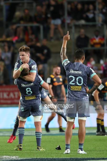 Hurricanes Jordie Barrett celebrates kicking the winning penalty during the round seven Super Rugby match between the Chiefs and the Hurricanes at...