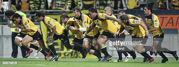 Hurricanes players charge a kick during the Round 2 Super 14 rugby match between the Hurricanes and the Western Force played at Yarrow Stadium on...