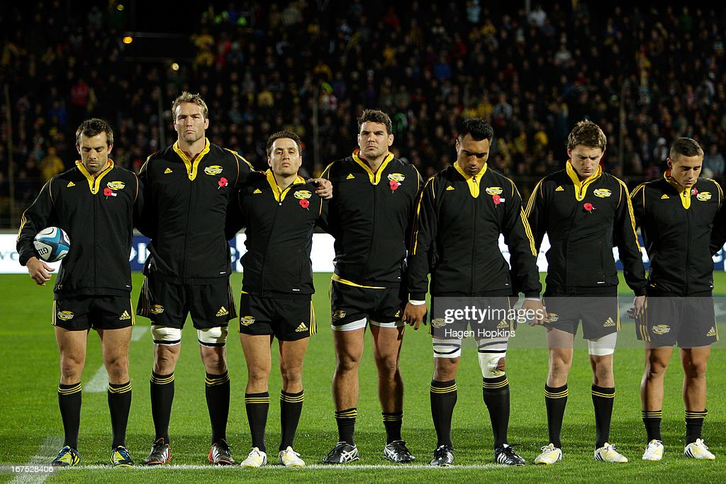 Hurricanes players observe a moment of silence to commemorate the ANZACs during the round 11 Super Rugby match between the Hurricanes and the Stormers at FMG Stadium on April 26, 2013 in Palmerston North, New Zealand.