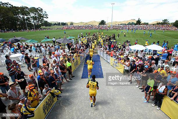 Hurricanes players take the field during the Super Rugby preseason match between the Blues and the Hurricanes at Eketahuna Rugby Club on February 13...