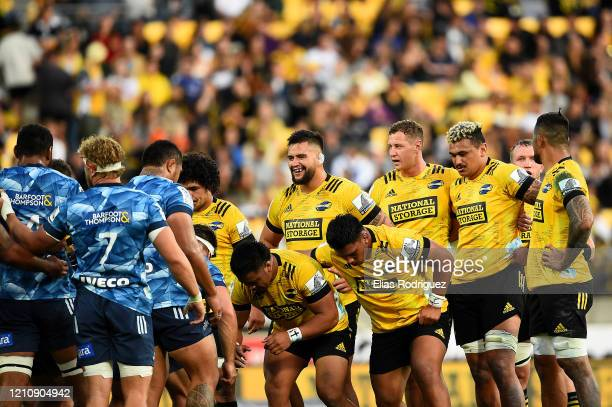 Hurricanes set a scrum during the round six Super Rugby match between the Hurricanes and the Blues at Westpac Stadium on March 07, 2020 in...