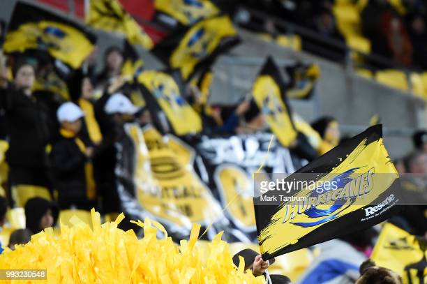 Hurricanes supporters flags during the round 18 Super Rugby match between the Hurricanes and the Blues at Westpac Stadium on July 7 2018 in...