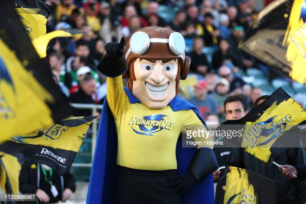 Hurricanes team mascot Captain Hurricane looks on during the round three Super Rugby match between the Hurricanes and the Brumbies at Central Energy...