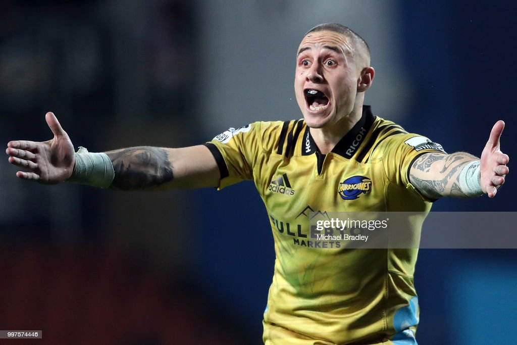 Hurricanes' TJ Perenara yell the the referee during the round 19 Super Rugby match between the Chiefs and the Hurricanes at Waikato Stadium on July 13, 2018 in Hamilton, New Zealand.