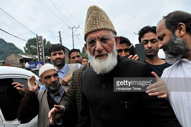 Hurriyat Conference chairman Syed Ali Shah Geelani arrives at Regional passport office to fill passport details for travel documents on June 5, 2015...