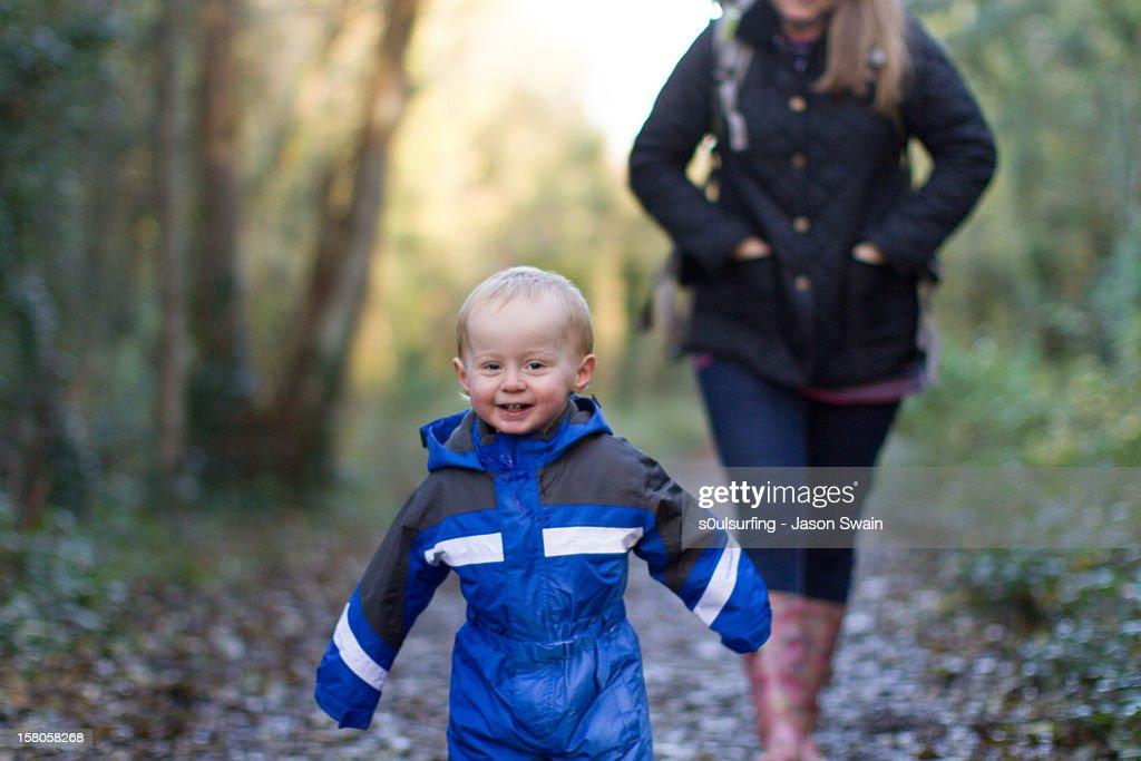 Hurry up mum : Stock Photo