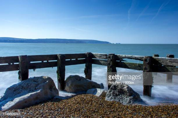 hurst castle - beach - keyhaven stock photos and pictures