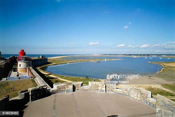Hurst Castle Hampshire c2000s View northwest from the central tower of the west wing and the inlet Hurst Castle was a sophisticated coastal fortress...