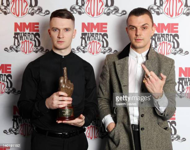 Hurts with their award at The NME Awards 2012 at The o2 Academy Brixton on February 29 2012 in London England