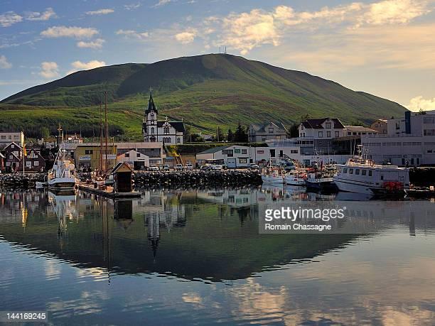 husavik harbor - husavik stock photos and pictures