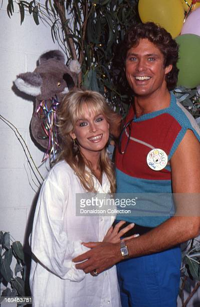 Husband and wife actor Catherine Hickland aka Catherine Hasselhoff and David Hasselhoff poses for a portrait in 1984 in Los Angeles California