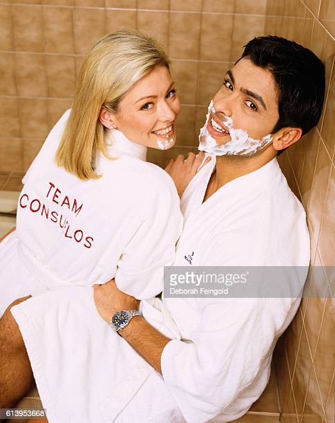 Husband and wife Kelly Ripa and Mark Consuelos in their home December 1988 in New Jersey