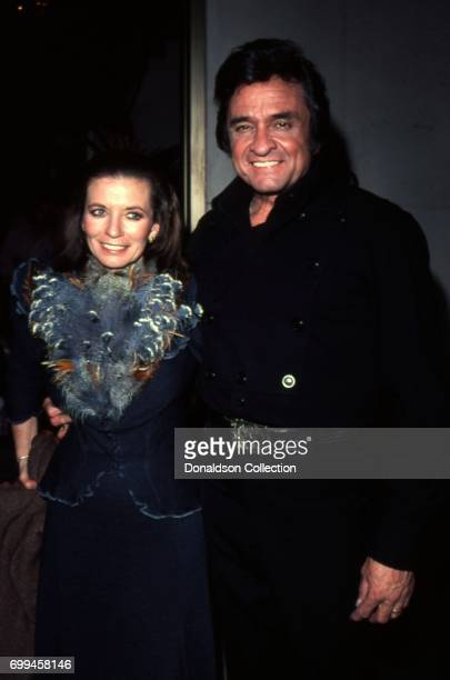 Husband and wife musicians Johnny Cash and June Carter Cash attends an event in May 1980 in Los Angeles, California.