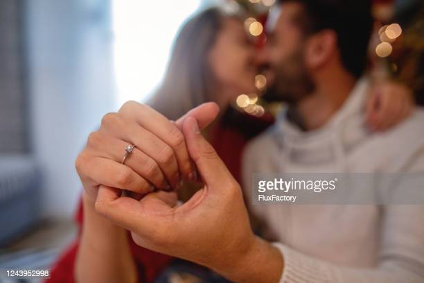 husband and wife newly engaged on holidays - fiancé stock pictures, royalty-free photos & images