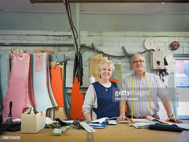 Husband and wife owner of clothing factory, portrait