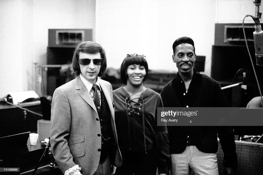 Husband and wife R&B duo Ike and Tina Turner with record producer Phil Spector while recording in Los Angeles, California at Gold Star Studios in 1966.