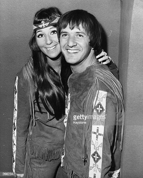 Husband and wife singing duo Sonny and Cher attending a press reception at Sybilla's in London During their stay here they are going to perform at...