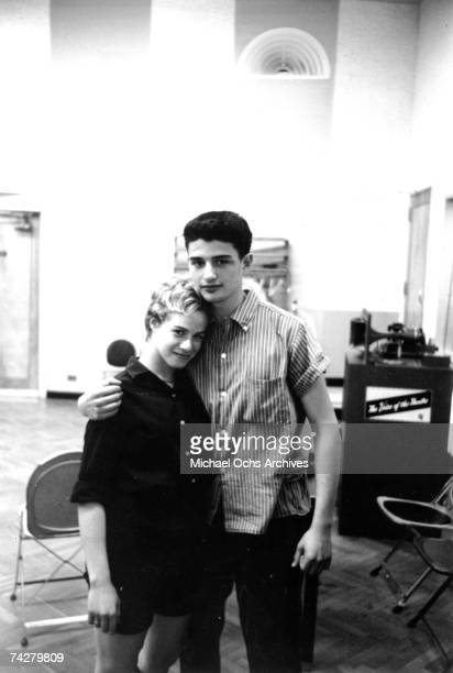 Husband and wife songwriting team Carole King and Gerry Goffin pose in RCA recording studio in New York New York circa 1959