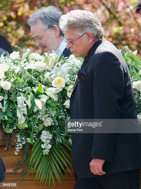Husband of Gloria Hunniford Stephen Way attends the Funeral of Caron Keating following her death from breast cancer last week at Hever Church in...