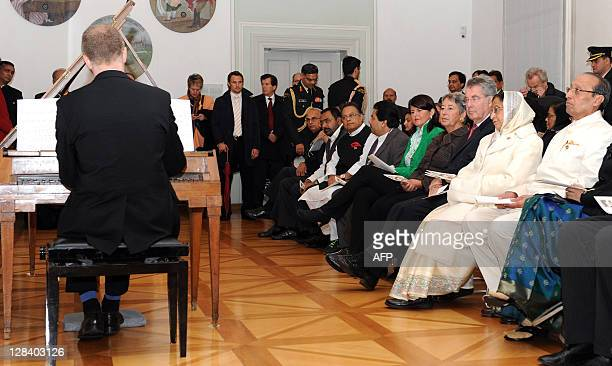 Husband of India's President Devsingh Ransingh Shekhawat India's President Pratibha Devisingh Patil Austrian President Heinz Fischer his wife Margit...