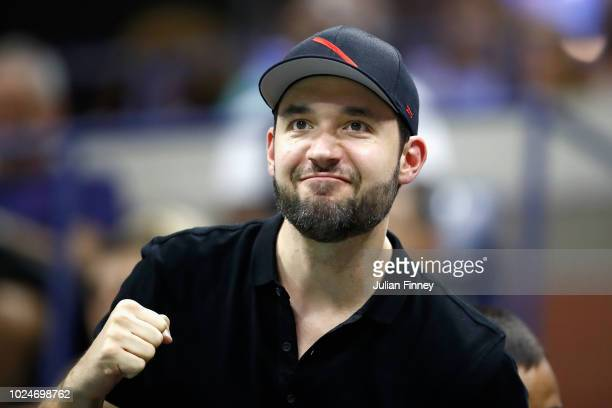 Husband of Serena Williams Alexis Ohanian cheers during the women's singles first round match between Serena Williams and Magda Linette and on Day...