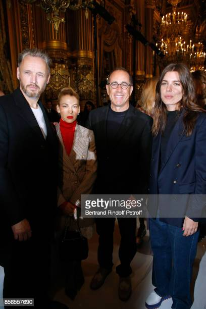 Husband of Stella Alasdhair Willis actor Jerry Seinfeld his wife Jessica and Charlotte Casiraghi attend the Stella McCartney show as part of the...