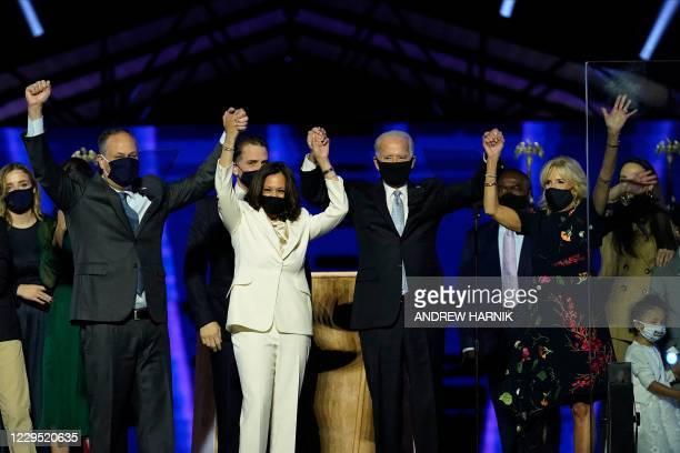 Husband of Vice President-elect Kamala Harris, Douglas Emhoff, Vice President-elect Kamala Harris, US President-elect Joe Biden and wife Jill Biden...