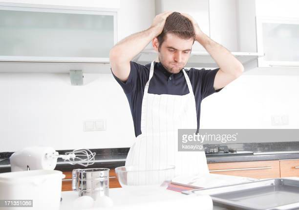 Husband preparing for cooking, having problems