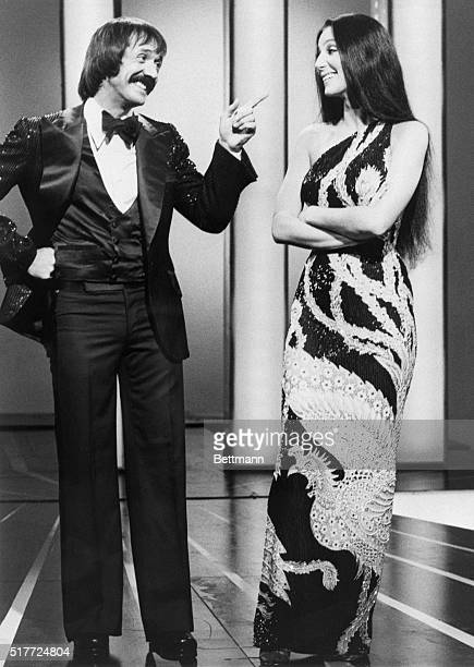 Husbandandwifeteam Sonny Bono and Cher joke together on their program The Sonny and Cher Comedy Hour