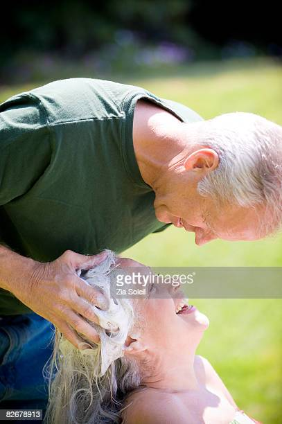 Husband/wife backyard shampoo/mass