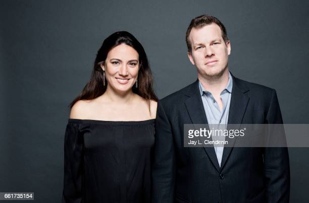 Husbandwife team Jonathan Nolan and Lisa Joy cocreator and showrunners of HBO's 'Westworld' is photographed for Los Angeles Times on March 25 2017 in...
