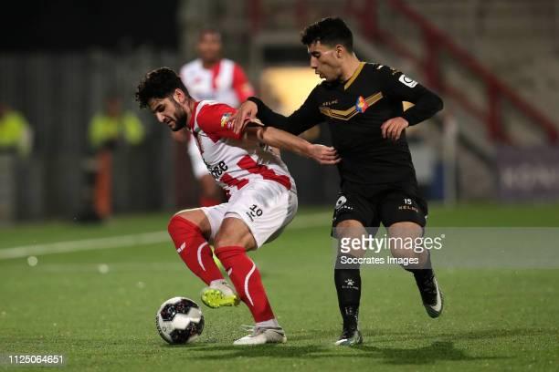 Huseyin Dogan of TOP Oss Anass Najah of Telstar during the Dutch Keuken Kampioen Divisie match between TOP Oss v Telstar at the Frans Heesen Stadium...