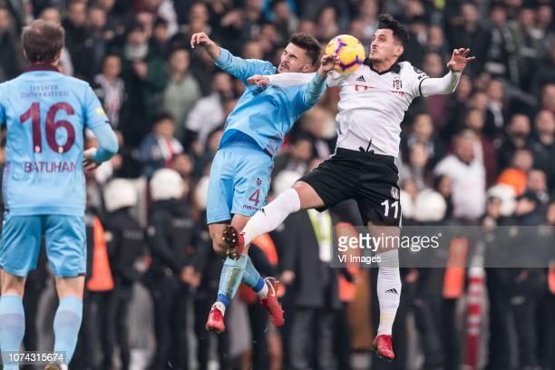 Huseyin Turkmen of Trabzonspor Mustafa Pektemek of Besiktas JK during the Turkish Spor Toto Super Lig football match between Besiktas JK and...