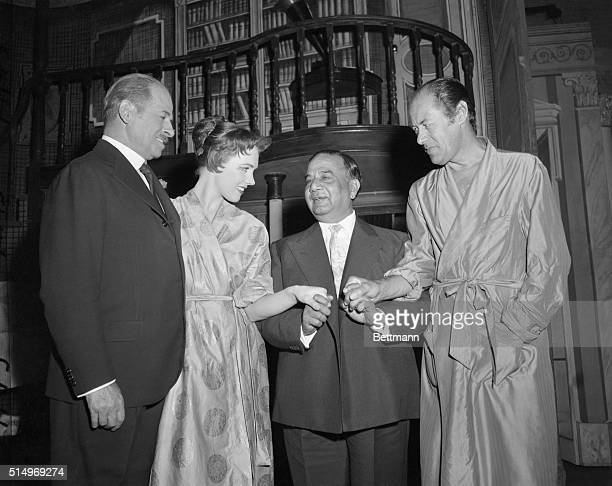 Huseyn Shaheed Suhrawardy Prime Minister of Pakistan is shown as he made a visit backstage at the Mark Hellinger Theatre to meet the stars of the...