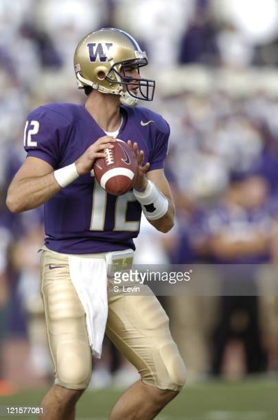 Huskies quarterback Johnny DuRocher during the game between the USC Trojans and the University of Washington Huskies at Husky Stadium in Seattle WA...
