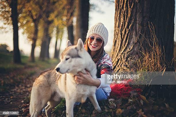 Husky loves autumn