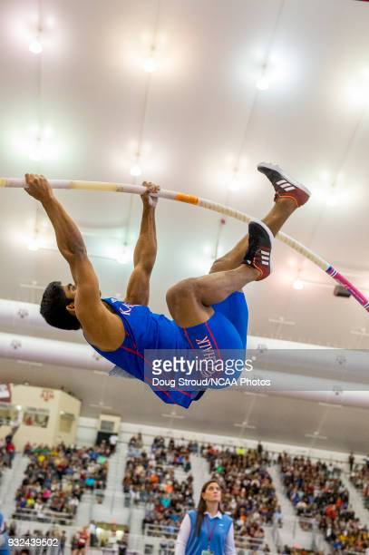 Hussain Alhizam of Kansas University launches during the Mens Pole Vault competition during the Division I Men's and Women's Indoor Track & Field...