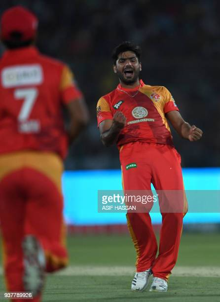 Hussain Talat of Islamabad United celebrates after taking a catch to dismiss Saad Nasim of Peshawar Zalmi during the Pakistan Super League final...
