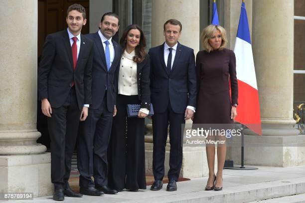 Hussam Hariri Lebanese Prime Minister Saad Hariri Lara Bashir French President Emmanuel Macron and French First Lady Brigitte Macron pose for...
