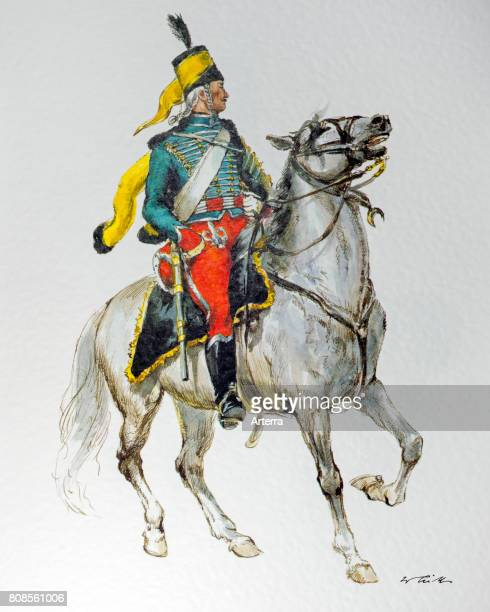 Hussar guide on horseback in uniform of the 1797 German army in the French Republic