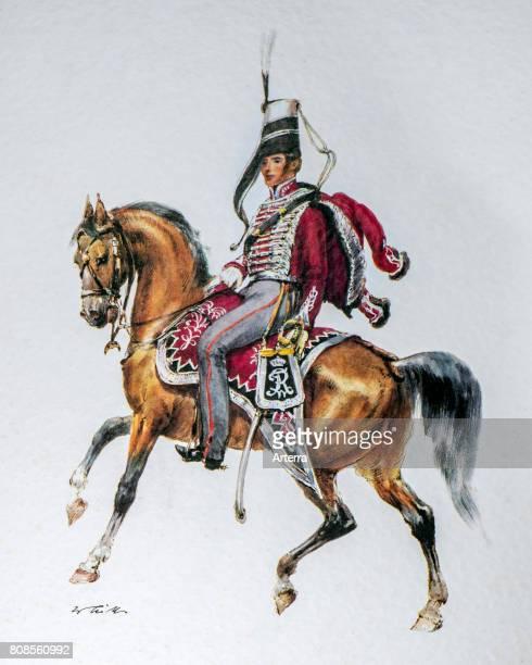 Hussar officer on horseback in uniform of the 1845 Bluchersches Huzaren regiment / Gl von BlŸcher Kingdom of Prussia